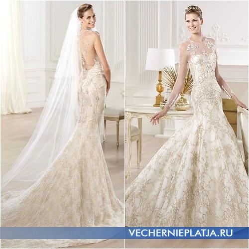 Декор платья свадебного цвета шампань