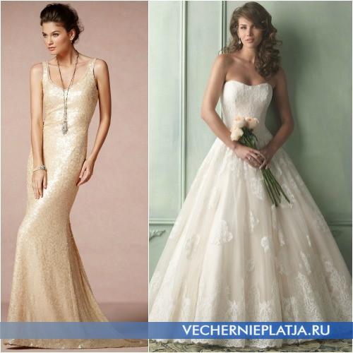 Маникюр под свадебное платье цвета шампань фото
