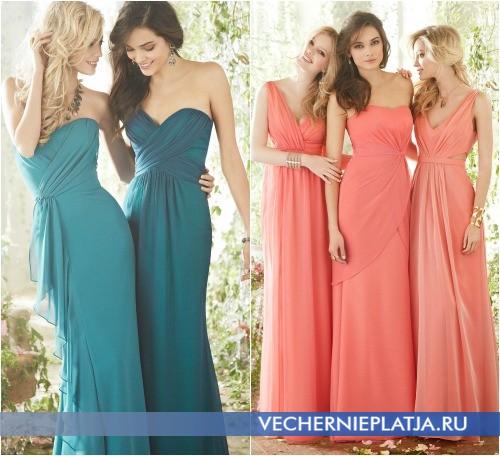 Роскошные платья для свидетельниц в одном стиле фото