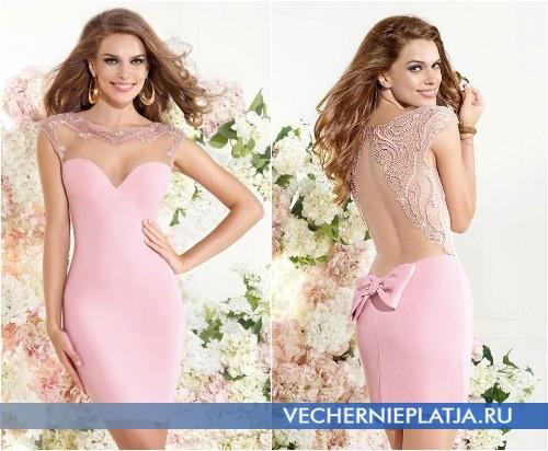 Выпускное платье длины мини 2015 с вырезом на спине
