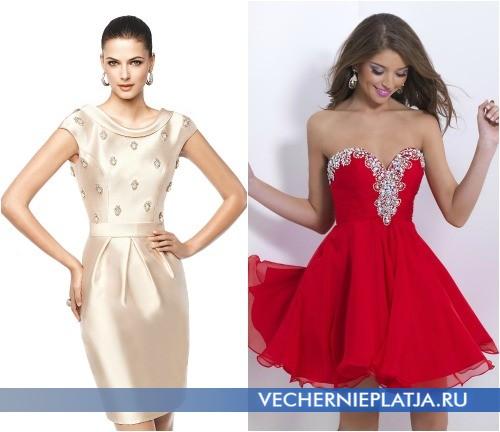 Короткие платья тюльпан и пышное на выпускной 2015 фото