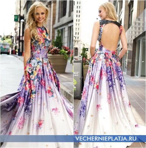 Модные платья Jovani на выпускной вечер 2015 с цветами фото