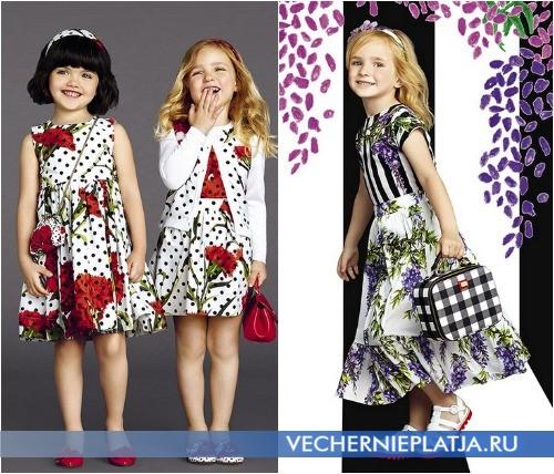 Нарядные платья с принтом для девочек, коллекция Dolce Gabbana