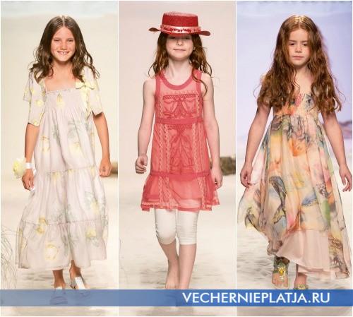 Этно-стиль в моделях нарядных летних платьев для девочек Miss Blumarine