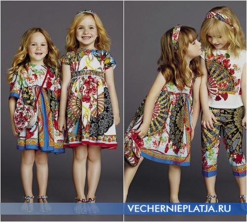 Нарядные модные детские платья с этническим принтом Dolce Gabbana