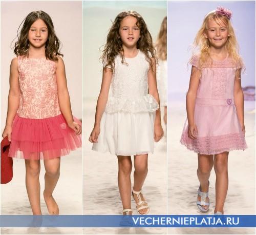 Фасоны детских нарядных платьев с воланами, коллекция Miss Blumarine
