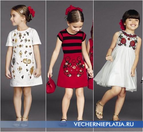 Платья с вышивкой нарядные для девочек фото коллекция Dolce Gabbana