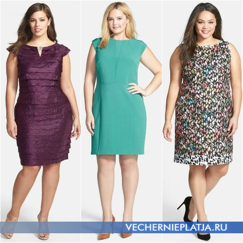 Модное платье-футляр для полных 2015 фото