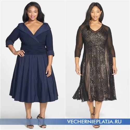 Модные платья для полных 2015 длины миди
