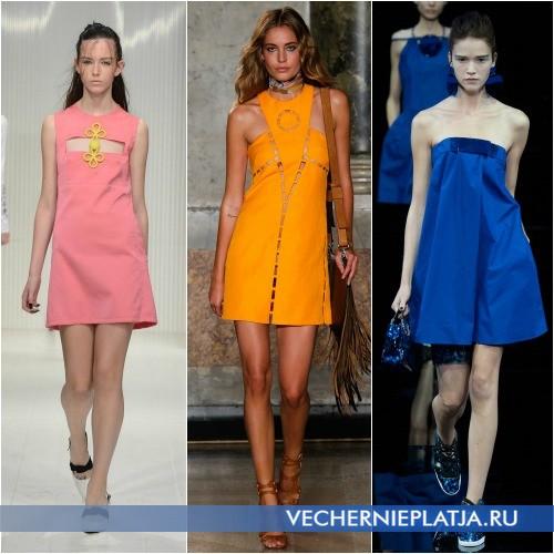 Короткие модные платья из хлопка для лета