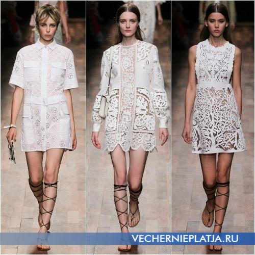 Летнее белое хлопковое платье с кружевом