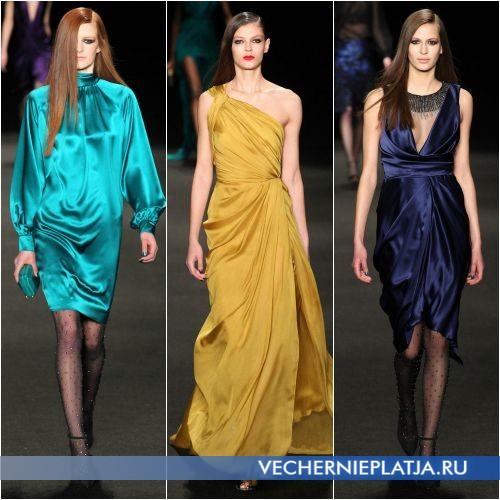 Однотонные нарядные платья для встречи Нового года 2016
