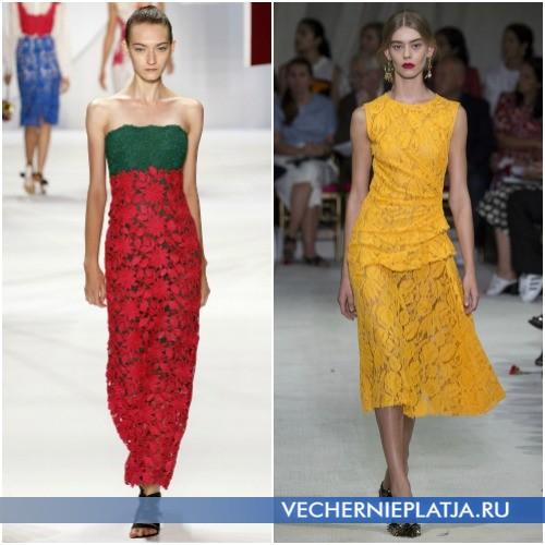 Летние кружевные яркие платья 2016 года фото