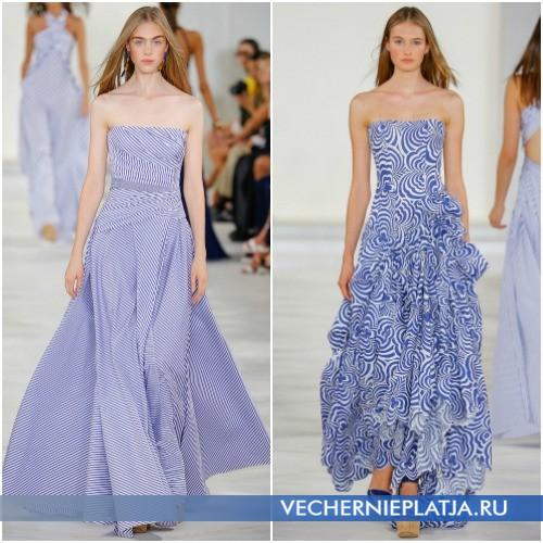 Длинные летние платья и сарафаны 2016 в сине-белую полоску фото