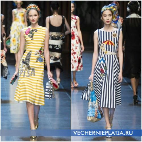 Летние полосатые платья и сарафаны 2016 с оригинальной вышивкой