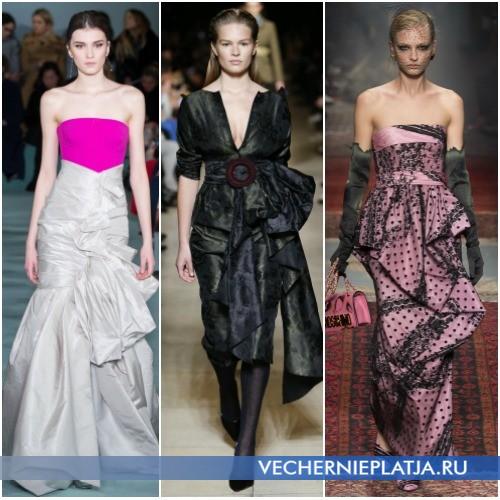 Платья с воланами и драпировками на бедрах 2016-2017 фото