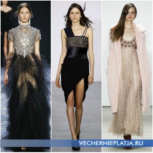 Вечерние платья с декором на осень и зиму 2016-2017