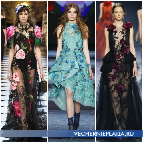 Платья с аппликациями цветами, сезон Осень-Зима 2016-2017
