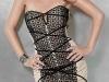 Бежевое платье с черным кружевом