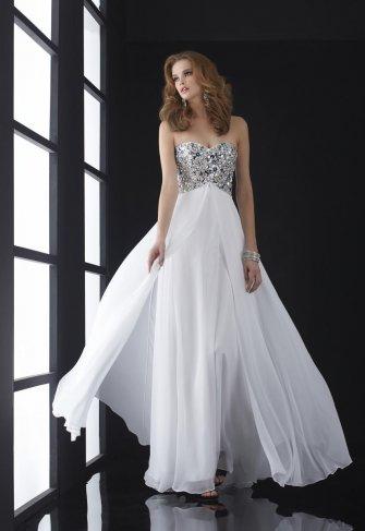Платье белое с красным на выпускной