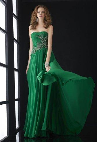 Платье на выпускной в пол зеленое