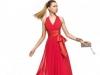 Длинное платье на выпускной 2014 красное с V-образным вырезом