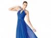 Длинное платье на выпускной 2014 синее с V-образным вырезом