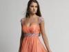 Коралловое короткое платье на выпускной 2014