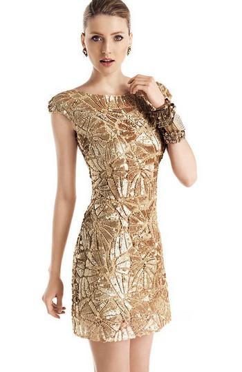 Золотое выпускное платье