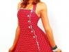 Красное платье в горошек полька дот