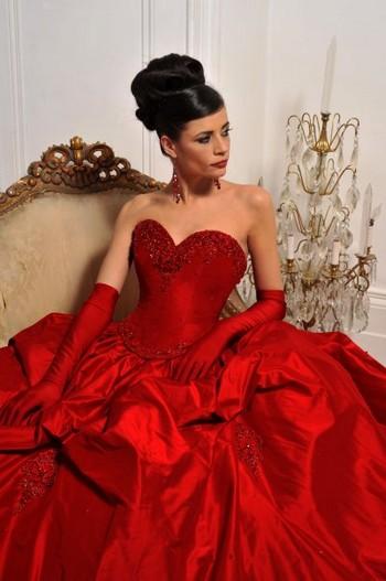 Красное свадебное платье вечерние