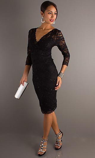Платье черное с длинными рукавами фото - каталог платьев 2013 года.