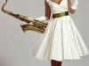 Белое платье в стиле стиляг