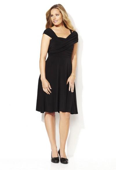 Описание: платье из теплого трикотажа для полных фото.