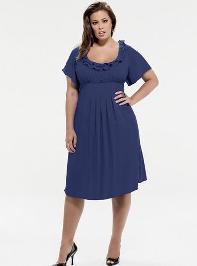 Синее трикотажное платье для полных.