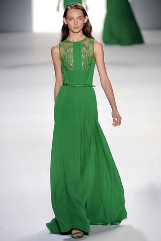 Фото длинных зелёных платьев