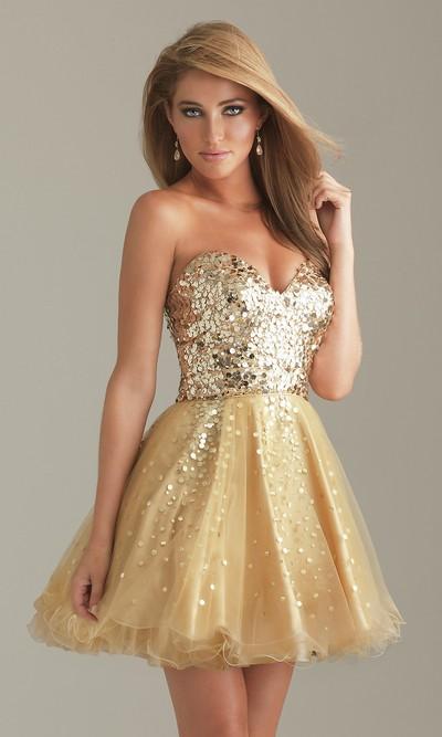 Золотистые короткие платья 122