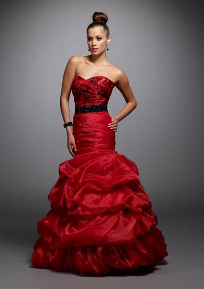 Вечернее красное платье с черным
