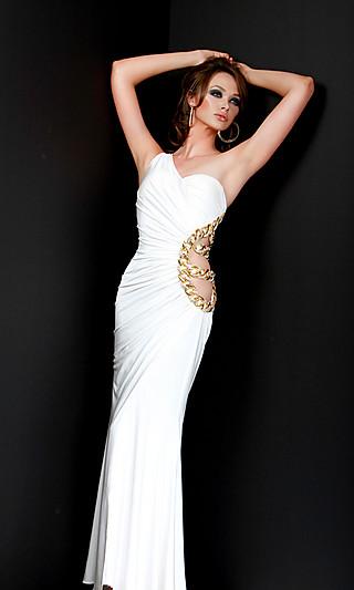 Белое вечернее платье с вырезом на талии и спине