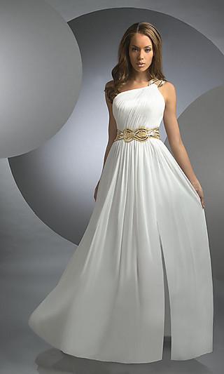 Свадебное платье на одно плечо в греческом стиле