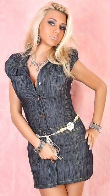 Короткое джинсовое платье в обтяжку