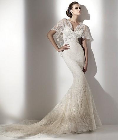 Свадебное платье-русалка Elie Saab из кружева