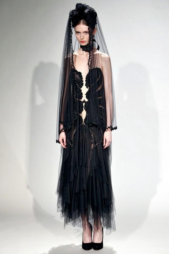 Черное свадебное платье Marchesa Осень-Зима 2011-2012