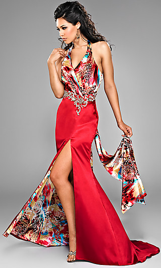 Платье-годе с принтом