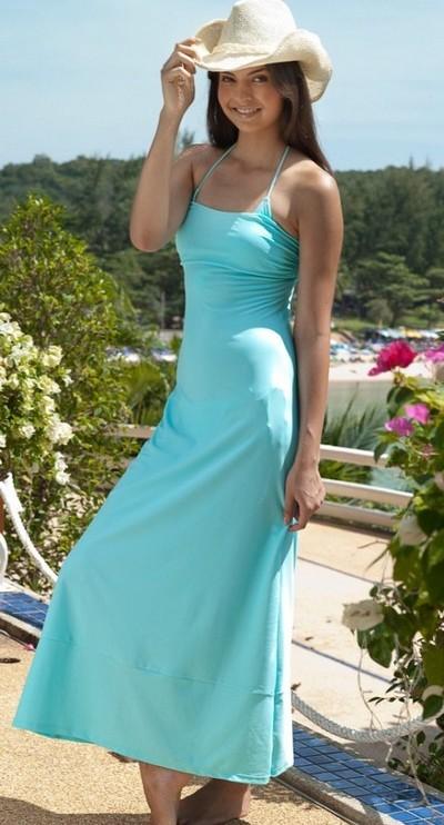 Пляжное платье цвета морской волны