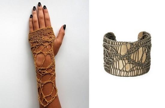 Вязаные перчатки без пальцев и вязаный браслет