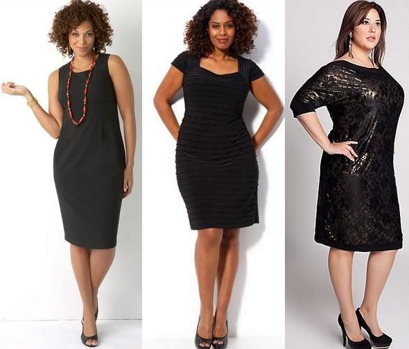 Фасоны черных платьев для полных