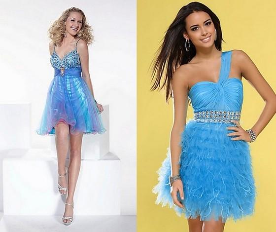 Короткие свадебные платья голубые