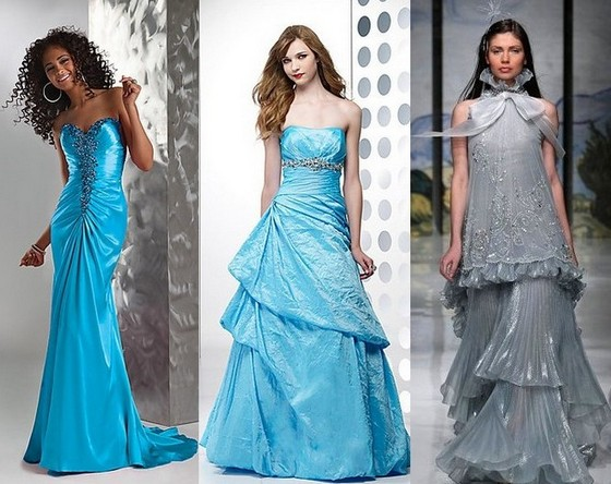 Голубые свадебные платья