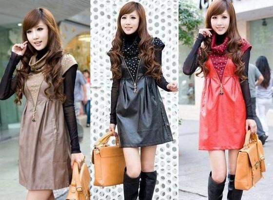 Модные кожаные платья 2011